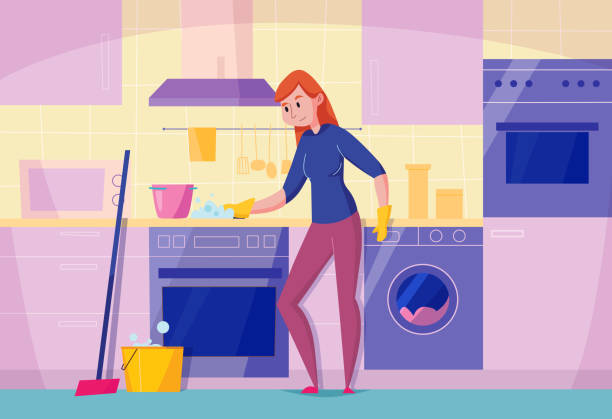 Kitchen Cleaning Flat Composition Kitchen maintenance service flat composition with woman cleaning stove top with sponge stylish dishwasher oven vector illustration dishwashing machine stock illustrations