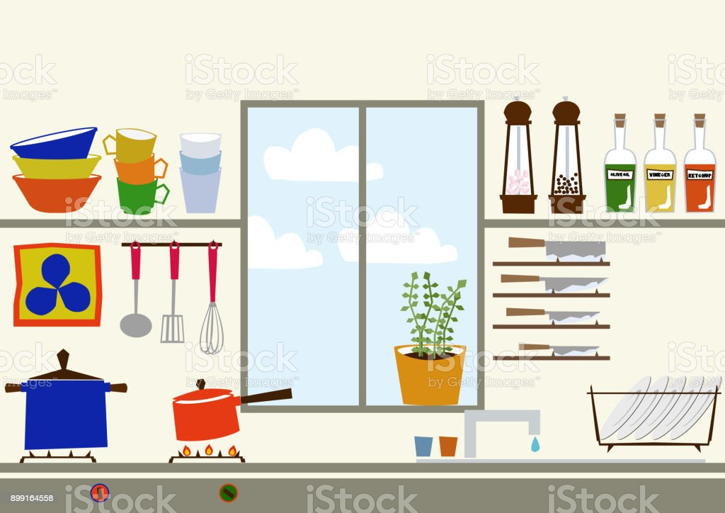 Kitchen Clip Art. Clip Art Of Cooking Utensils. Icon For Daily Necessities.  Material