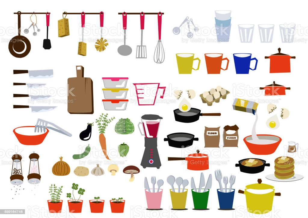 Kitchen clip art. Clip art of cooking utensils. Icon for daily necessities. Material collection. vector art illustration