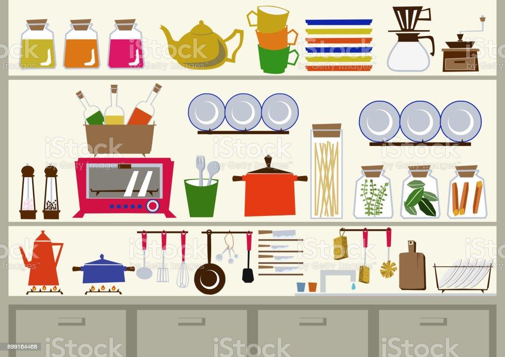 Kücheclipartgrafiken Tägliche Necessitiesmaterials Für Den Täglichen