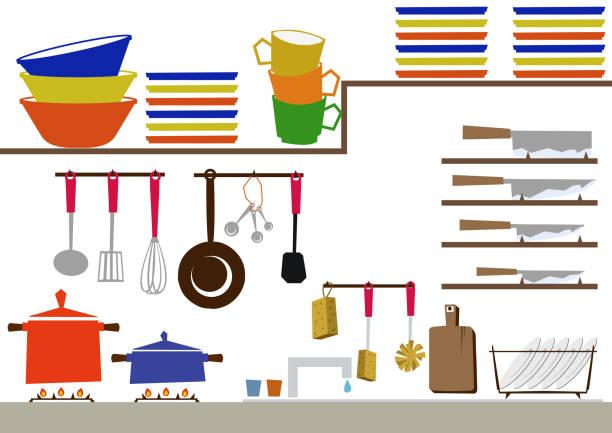 küche-clipart-grafiken. tägliche necessities.materials für den täglichen bedarf. bild der hausarbeit. - küchensystem stock-grafiken, -clipart, -cartoons und -symbole