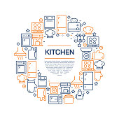 Kitchen Concept - Colorful Line Icons, Arranged in Circle