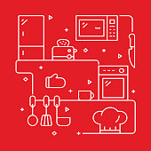 Kitchen Concept Design Template. Outline Symbol Abstract