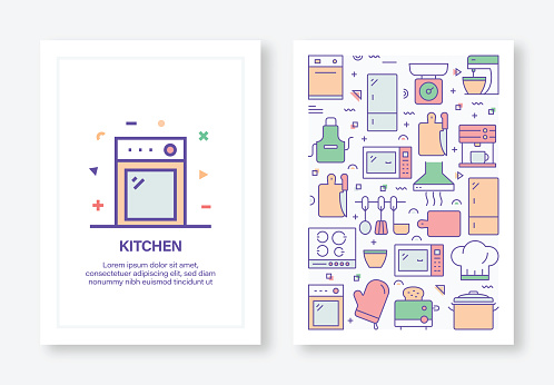 Kitchen Concept Line Style Cover Design for Annual Report, Flyer, Brochure.