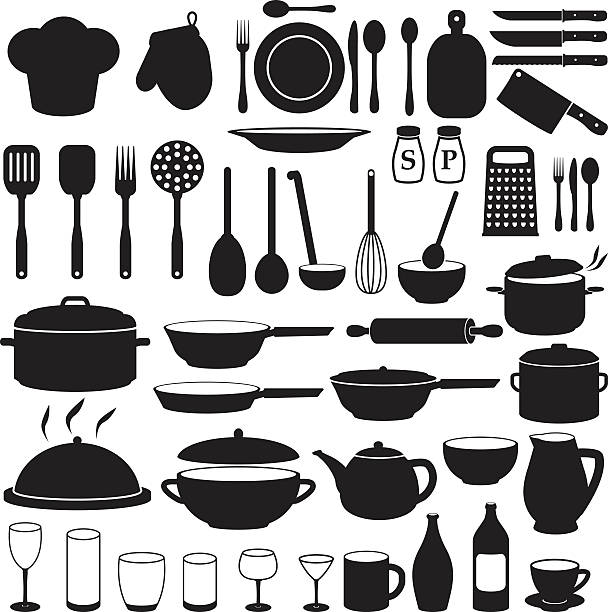Kitchen Cooking Icons Set Kitchen Cooking Icons cooking silhouettes stock illustrations