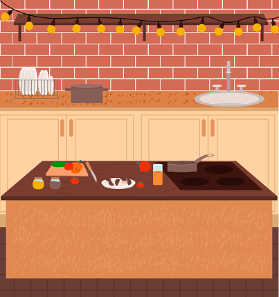 Kitchen Cooking Place with Dishes and Food Vector