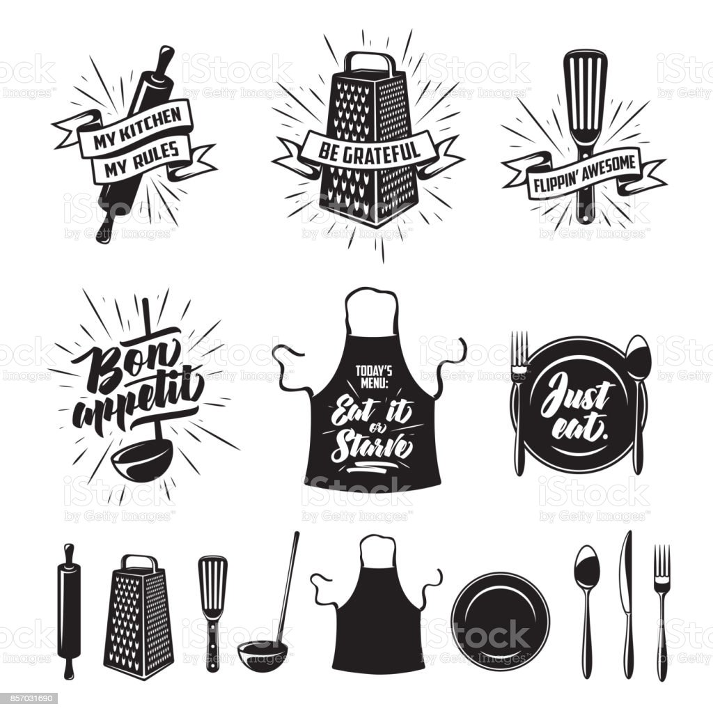 Kitchen cooking prints set. Vector vintage illustration. Kitchen prints set. Quotes and funny sayings about food cooking. Monochrome kitchenware objects set. Restaurant advertising posters collection. Vector vintage illustration. Apron stock vector