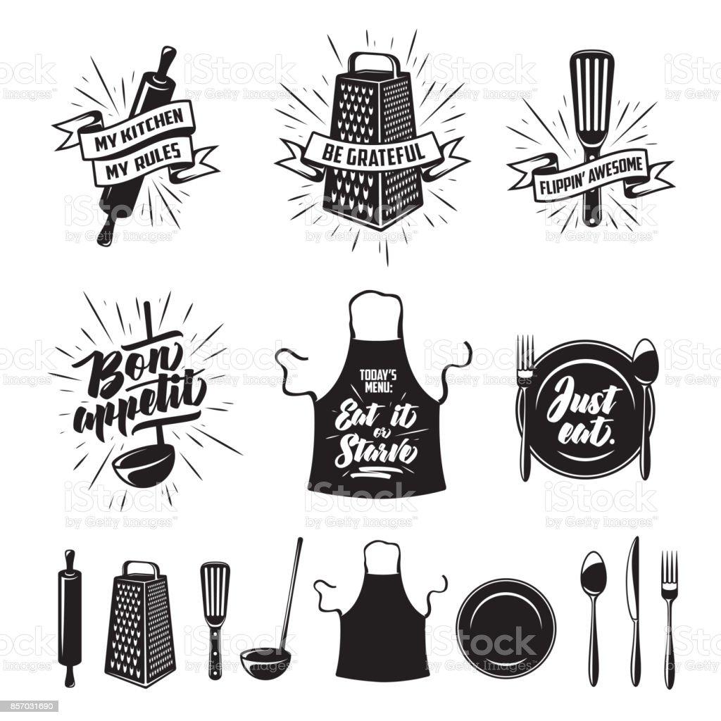 Kitchen cooking prints set. Vector vintage illustration. vector art illustration