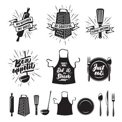 Kitchen Cooking Prints Set Vector Vintage Illustration Stock Illustration - Download Image Now