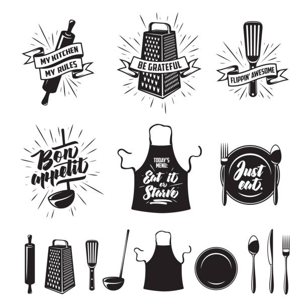 Kitchen cooking prints set. Vector vintage illustration. Kitchen prints set. Quotes and funny sayings about food cooking. Monochrome kitchenware objects set. Restaurant advertising posters collection. Vector vintage illustration. kitchen stock illustrations