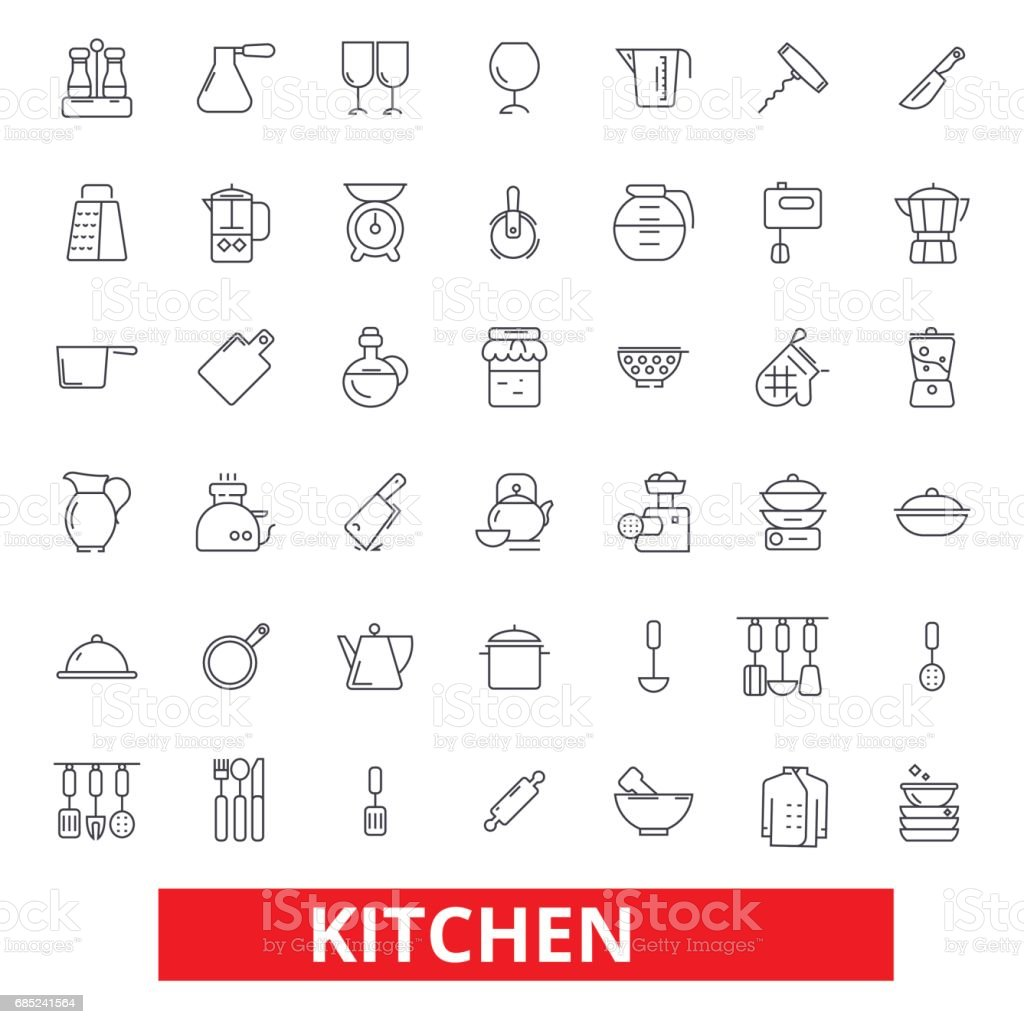 Kitchen cooking tools, restaurant utensils, cookware, kitchenware, food preparation icons. Editable strokes. Flat design vector illustration symbol concept. Line signs isolated on white background kitchen cooking tools restaurant utensils cookware kitchenware food preparation icons editable strokes flat design vector illustration symbol concept line signs isolated on white background - arte vetorial de stock e mais imagens de arte, cultura e espetáculo royalty-free