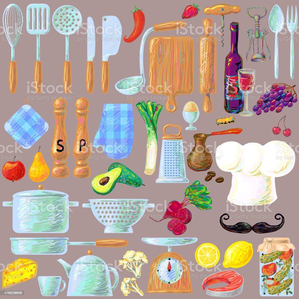 Kitchen cooking utensils and food set vector art illustration