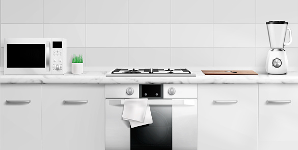 Kitchen counter top with microwave oven, gas stove