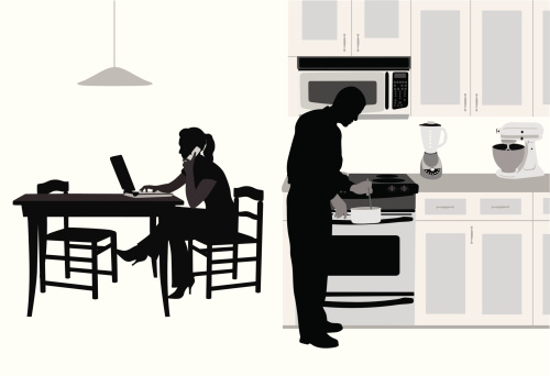 Kitchen Couple Vector Silhouette