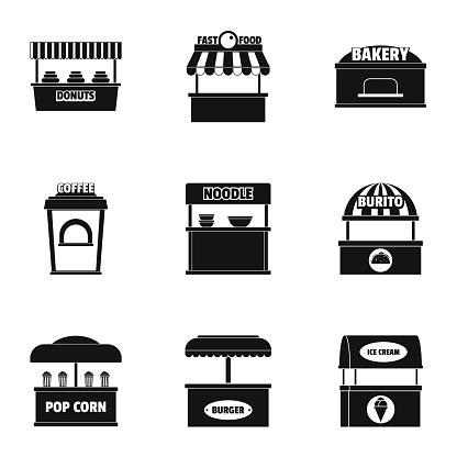 Kitchen cupboard icons set, simple style