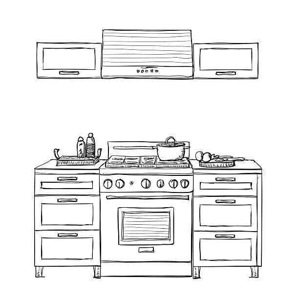 kitchen cupboard,  shelves. - schrankkorb stock-grafiken, -clipart, -cartoons und -symbole