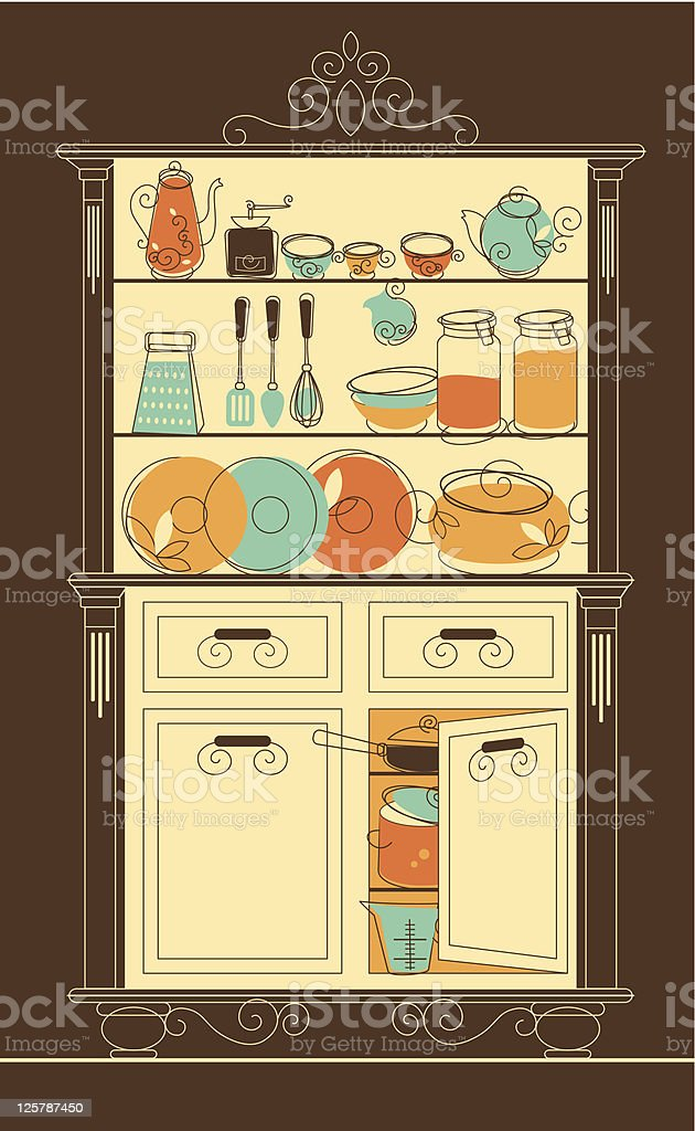 Kitchen cupboard royalty-free stock vector art