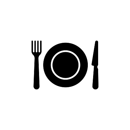 Kitchen Cutlery, Plate Fork and Knife Flat Vector Icon