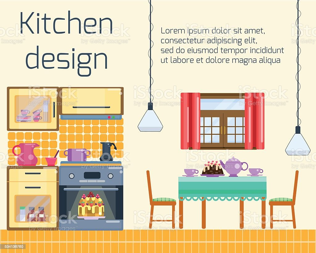 Kitchen Design And Dining Room Interior Royalty Free