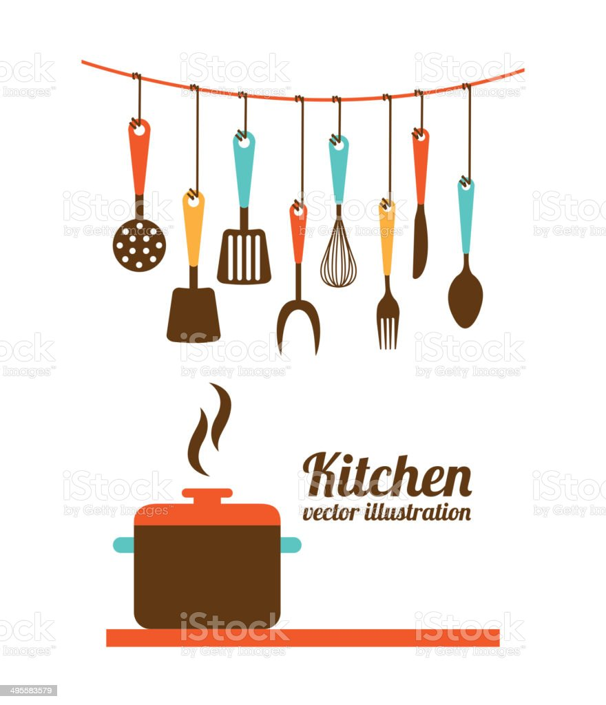 Kitchen design vector art illustration
