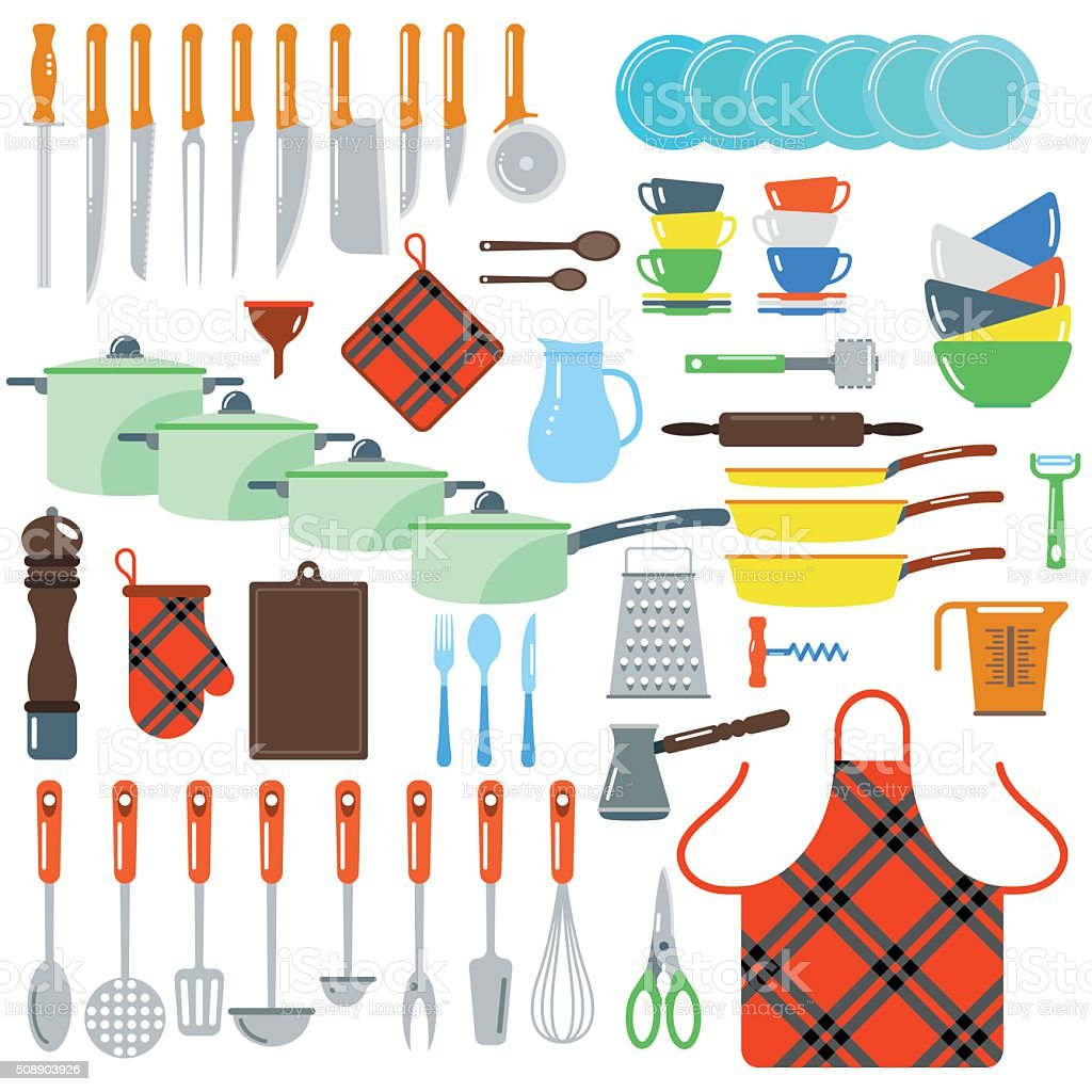 Kitchen Dishes Vector Flat Icons Isolated On White Background Stock ...