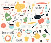 istock Kitchen doodle vector icon set. For modern recipe card template set for cookbook. Menu creator. 1157984877