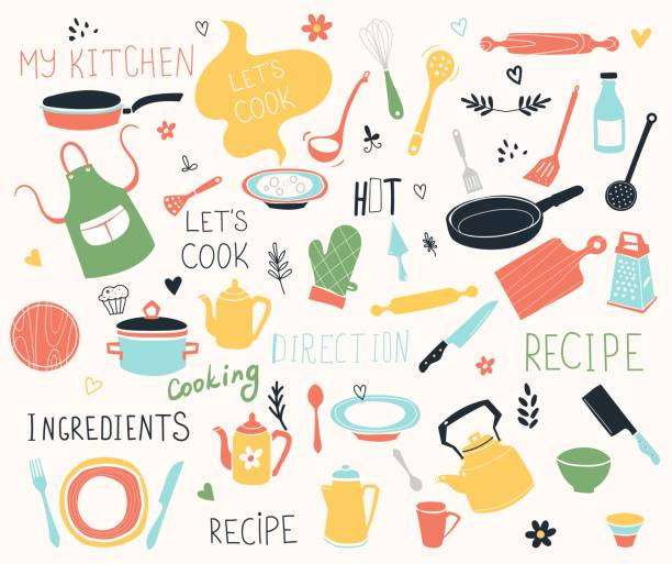 Kitchen doodle vector icon set. For modern recipe card template set for cookbook. Menu creator. Kitchen doodle vector icon set. For modern recipe card template set for cookbook. Menu creator. cooking drawings stock illustrations