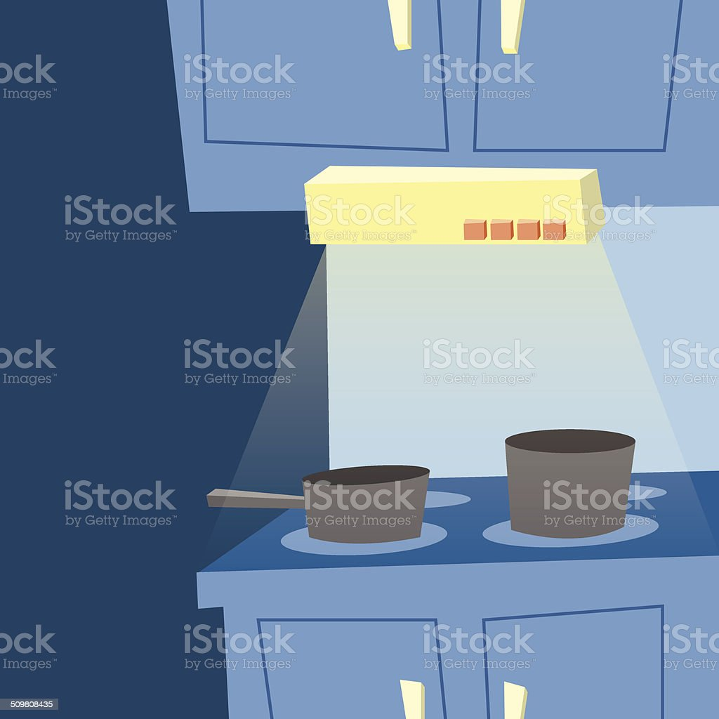 Kitchen Electric stove with vent light at night vector art illustration