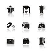 Kitchen electronics drop shadow icons set