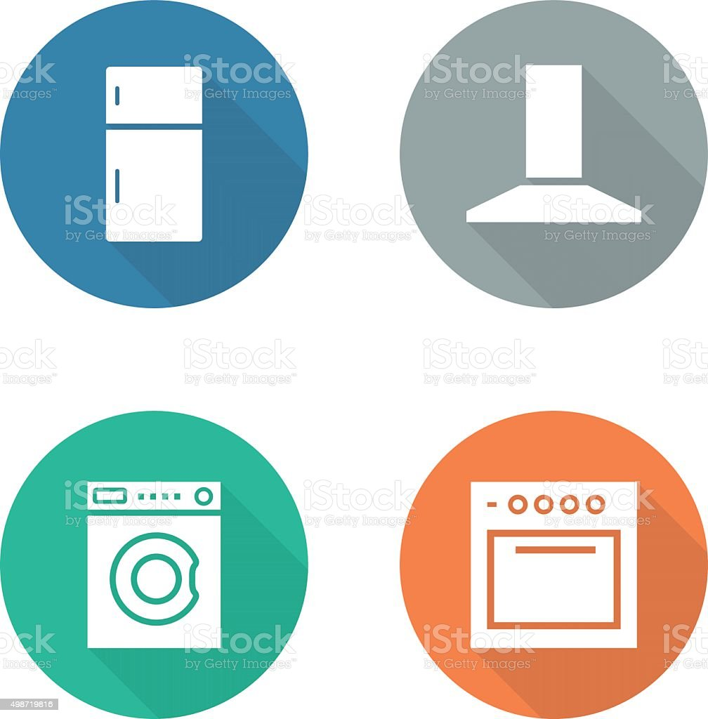 Kitchen Electronics Flat Design Icons Set Stock Vector Art & More ...