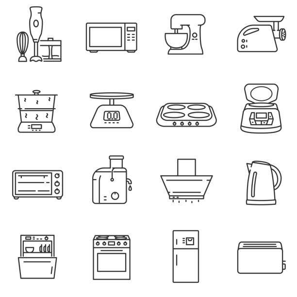 Kitchen electronics icons set. Kitchen electronics icons set. electrical appliances for the cuisine, thin line design. stove stock illustrations