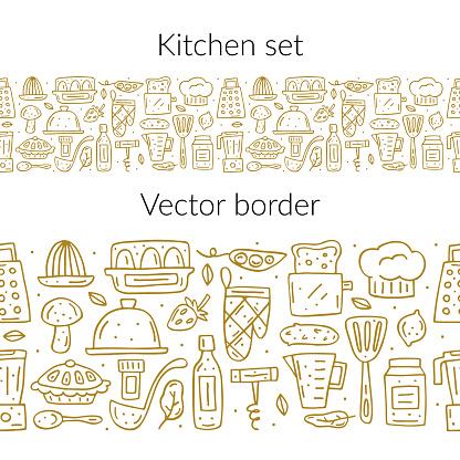 Kitchen elements cute doodle hand drawn cartoon vector seamless border