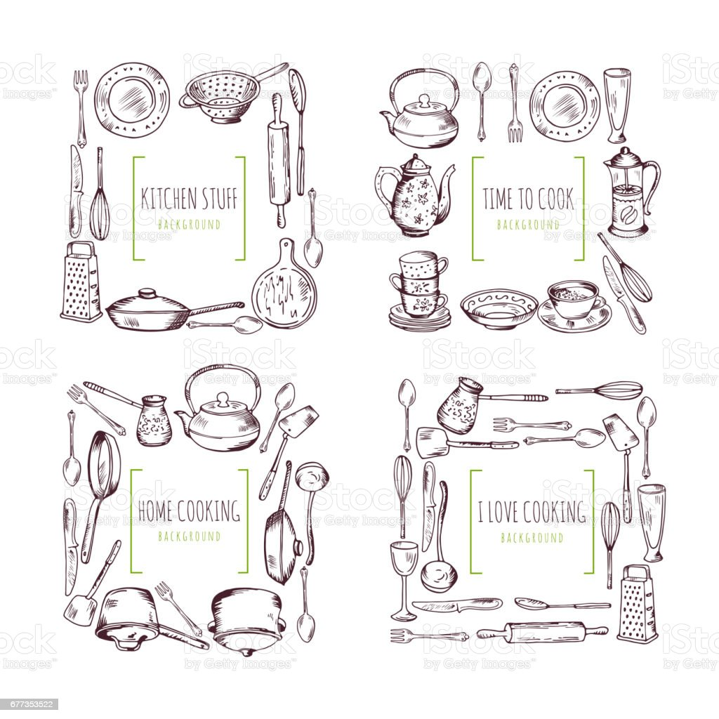 Kitchen Elements Frames And Place For Your Text Food Vector ...