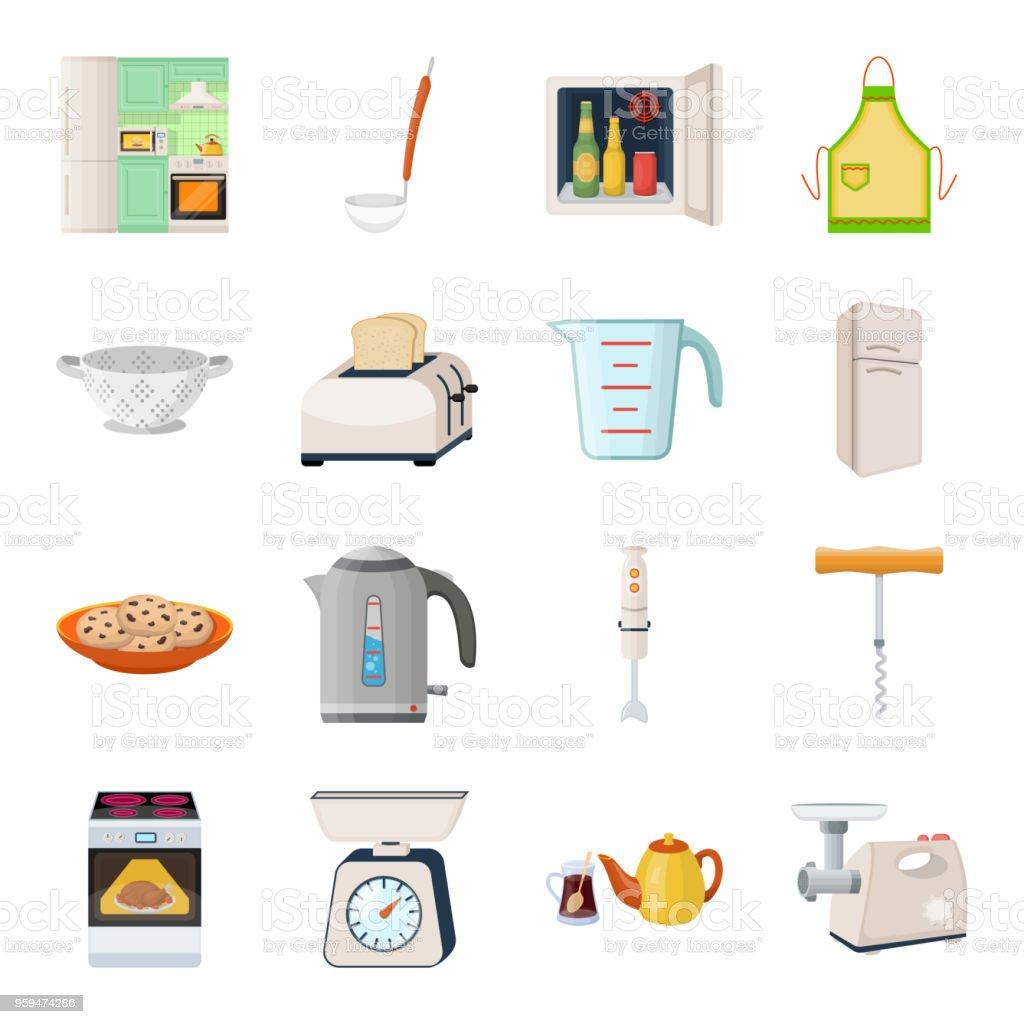 Ilustración De Iconos De Dibujos Animados Equipo Cocina Colección