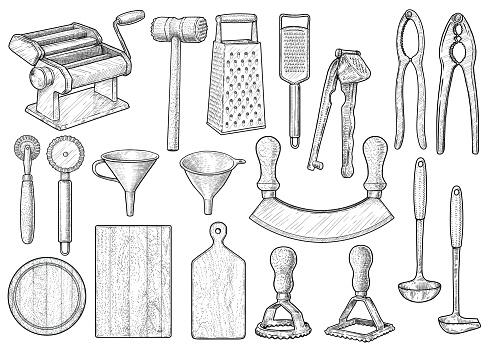 4b871c4de ... Ilustración de Equipo De Cocina Utensilios Accesorios Ilustración  Dibujo Grabado Tinta Línea Arte Vector y más