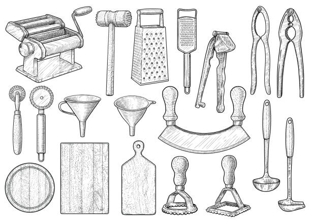 illustrazioni stock, clip art, cartoni animati e icone di tendenza di kitchen equipment, utensil, accessories illustration, drawing, engraving, ink, line art, vector - kitchen situations