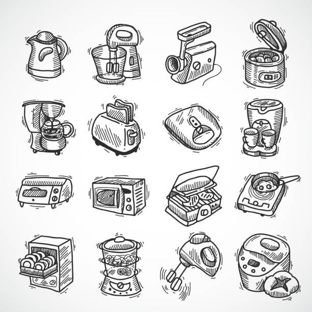 ilustrações de stock, clip art, desenhos animados e ícones de kitchen equipment - baking bread at home