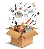 Kitchen equipments in box