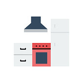 Kitchen Flat Icon. Flat Design Vector Illustration