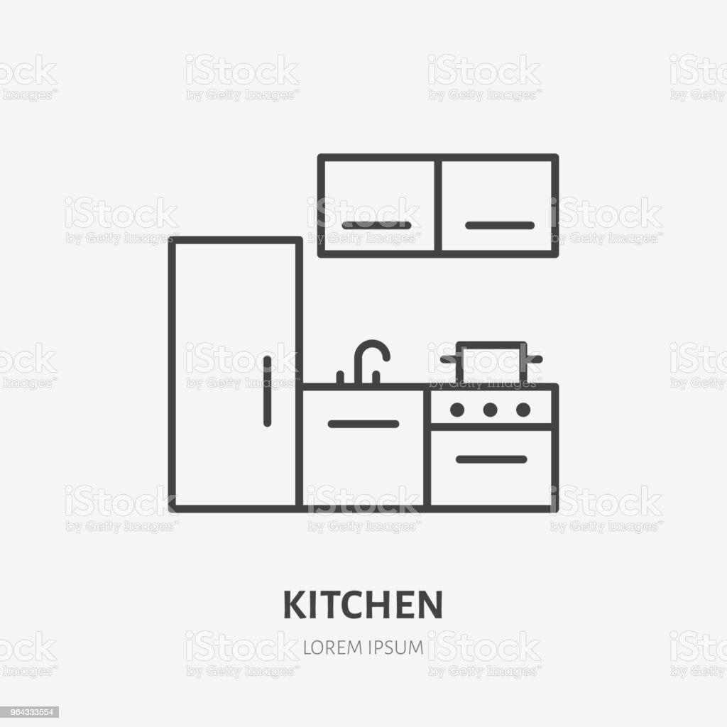 Kitchen Flat Line Icon Apartment Furniture Sign Vector Illustration