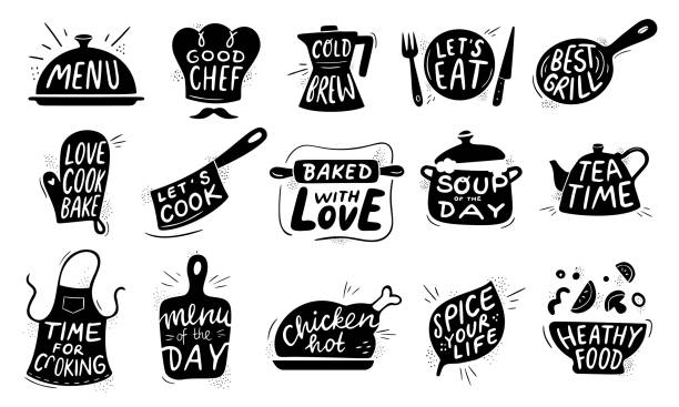 Kitchen food lettering. Gourmet cooking foods badge, chicken recipes cook and restaurant menu letterings vector illustration set Kitchen food lettering. Gourmet cooking foods badge, chicken recipes cook and restaurant menu letterings. Chef apron stamp, food bistro chalk logo design. Vector illustration isolated icons set kitchen stock illustrations
