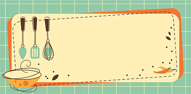 Kitchen Frame Frame with Kitchen utensil in Retro-Styled cooking borders stock illustrations