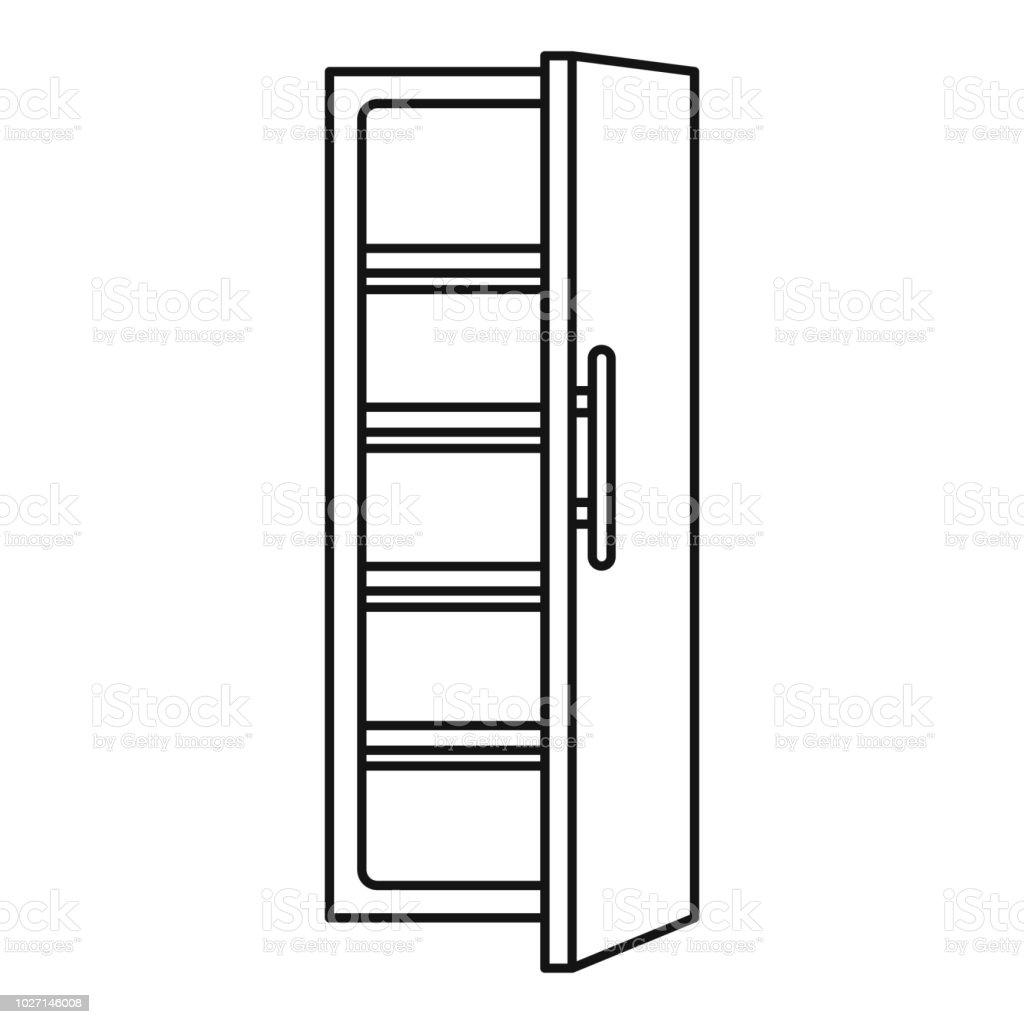 Ícone de cozinha geladeira, estilo de estrutura de tópicos - ilustração de arte em vetor