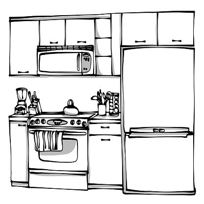 Kitchen Fridge Stove And Microwave