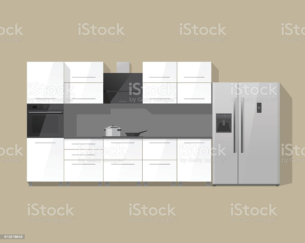 Kitchen furniture cabinets interior vector illustration isolated on color background vector art illustration