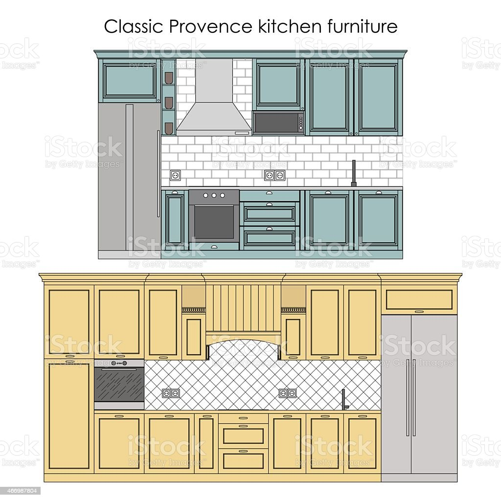 Kitchen furniture in classic style vector art illustration