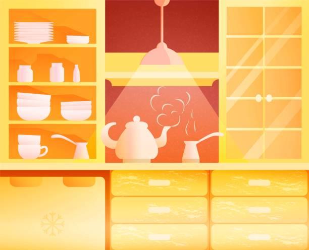 küchenmöbel im flachen design - winkelküche stock-grafiken, -clipart, -cartoons und -symbole