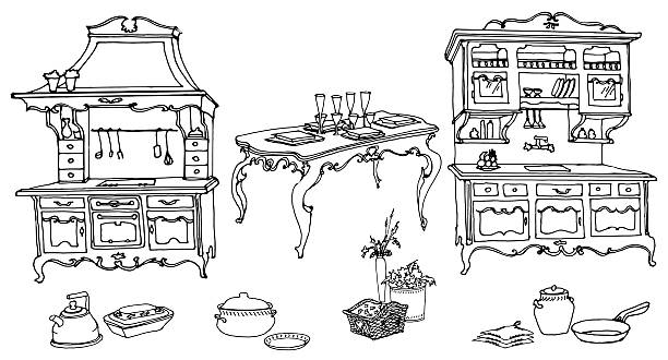 kitchen furniture in the old style 3 - schrankkorb stock-grafiken, -clipart, -cartoons und -symbole