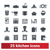 Kitchen furniture, Kitchen utensil, Chef Icons Set