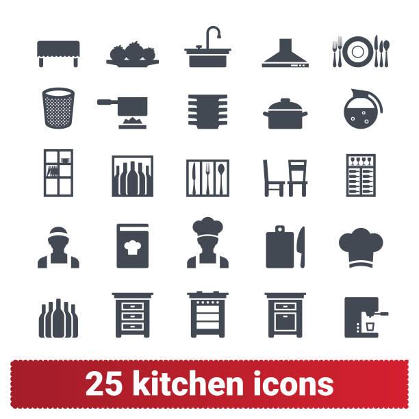 küchenmöbel, küchengeschirr, chef icons set - nahrungsmittelindustrie stock-grafiken, -clipart, -cartoons und -symbole